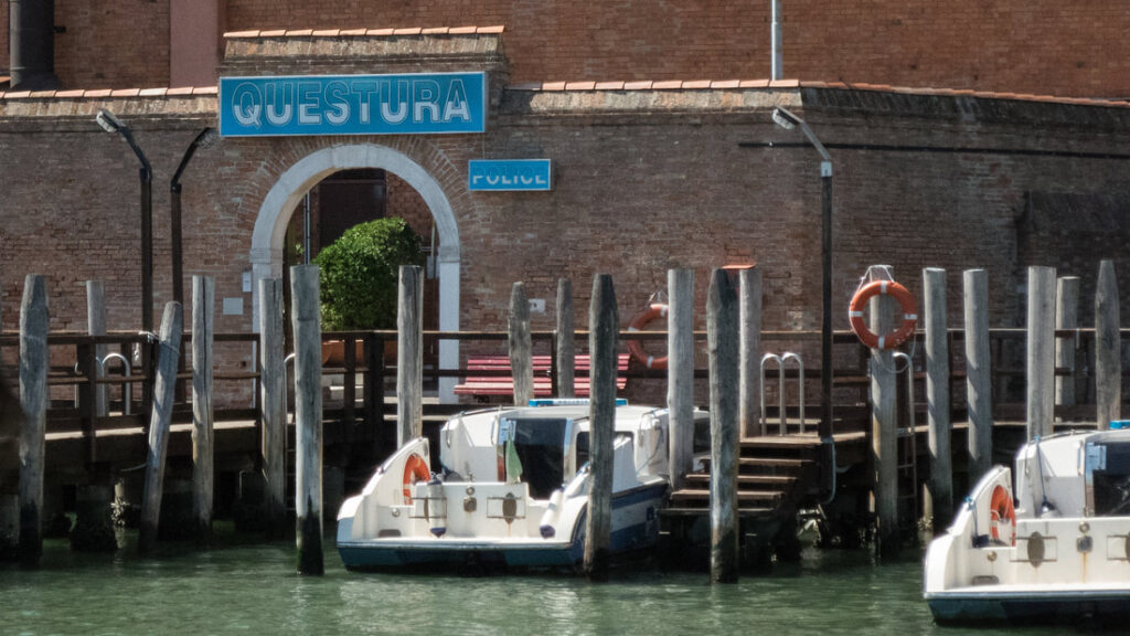 Questura in Venice with police boats.